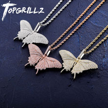 TOPGRILLZ New Iced Out フル立方ジルコン小さい蝶の羽ペン(China)