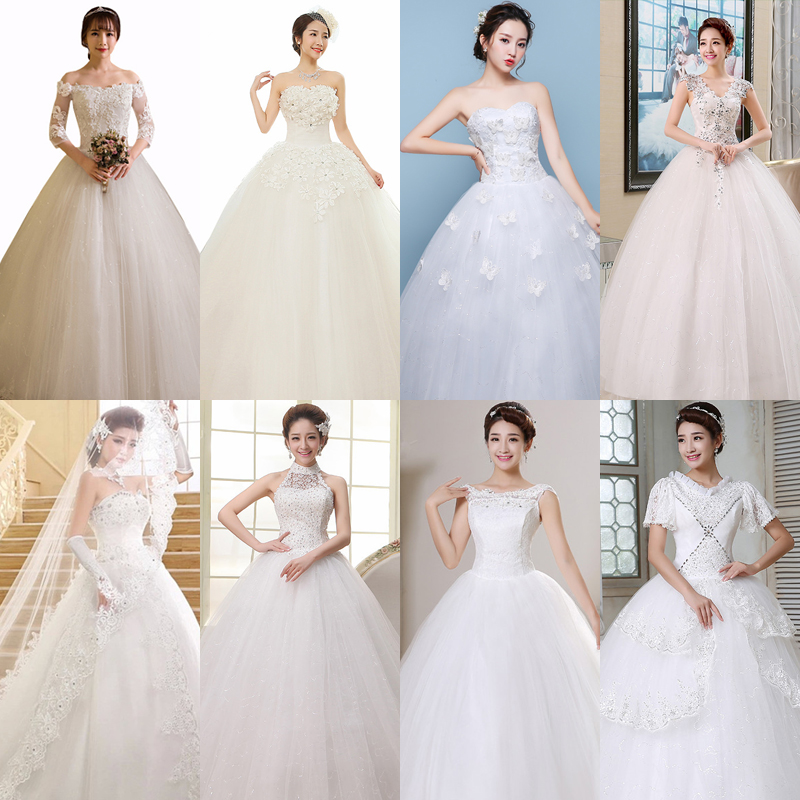 In Stock Wedding Dress Appliques Beading Crystal Princess Bridal Ball Gown Boat Neck Embroidery Long Wedding Dresses HS569
