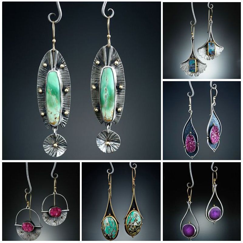 Vintage Earrings Tribal Geometric Stone Hook Dangle Earrings Female Gypsy Indian Long Statement Earring Pendientes Mujer Z4D326