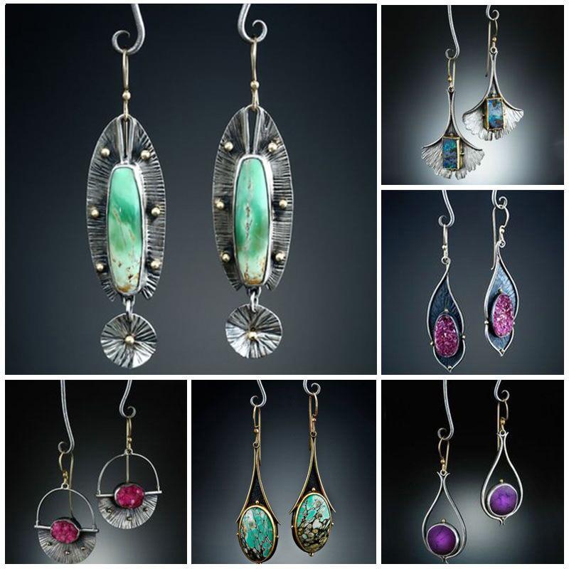 Vintage Earrings Tribal Geometric Stone Hook Dangle Earrings Female Gypsy Indian Long Statement Earring Pendientes Mujer Z4D326