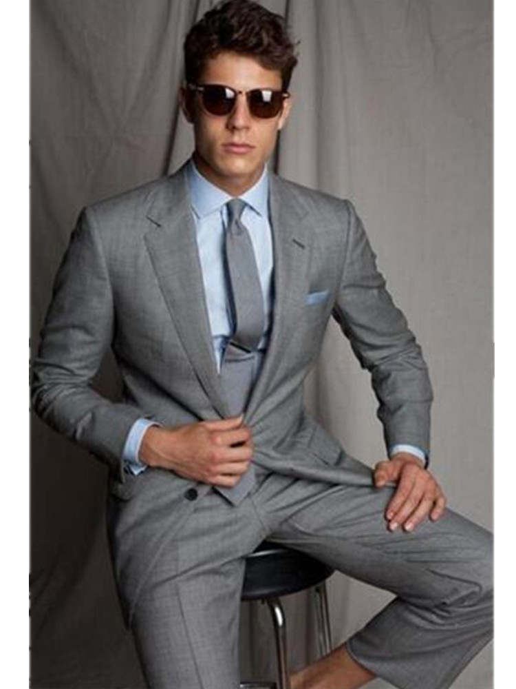 Costume pour hommes personnalisé gris clair revers gap homme deux pièces costume de mariage costume pour hommes (haut + pantalon)