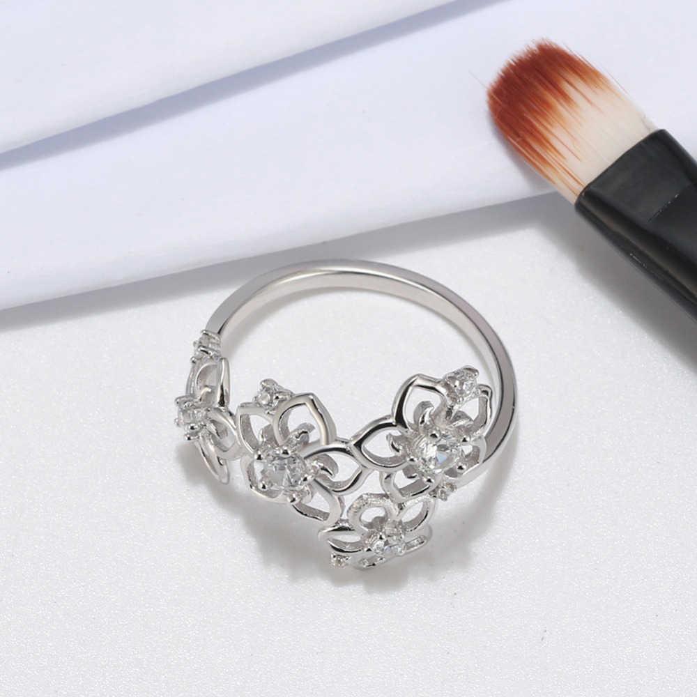 Effie Königin 925 Sterling Silber Halsketten Ringe Schmuck Sets Für Frauen AAA Zirkon Blume Form Partei Edlen Schmuck Sets TSS24