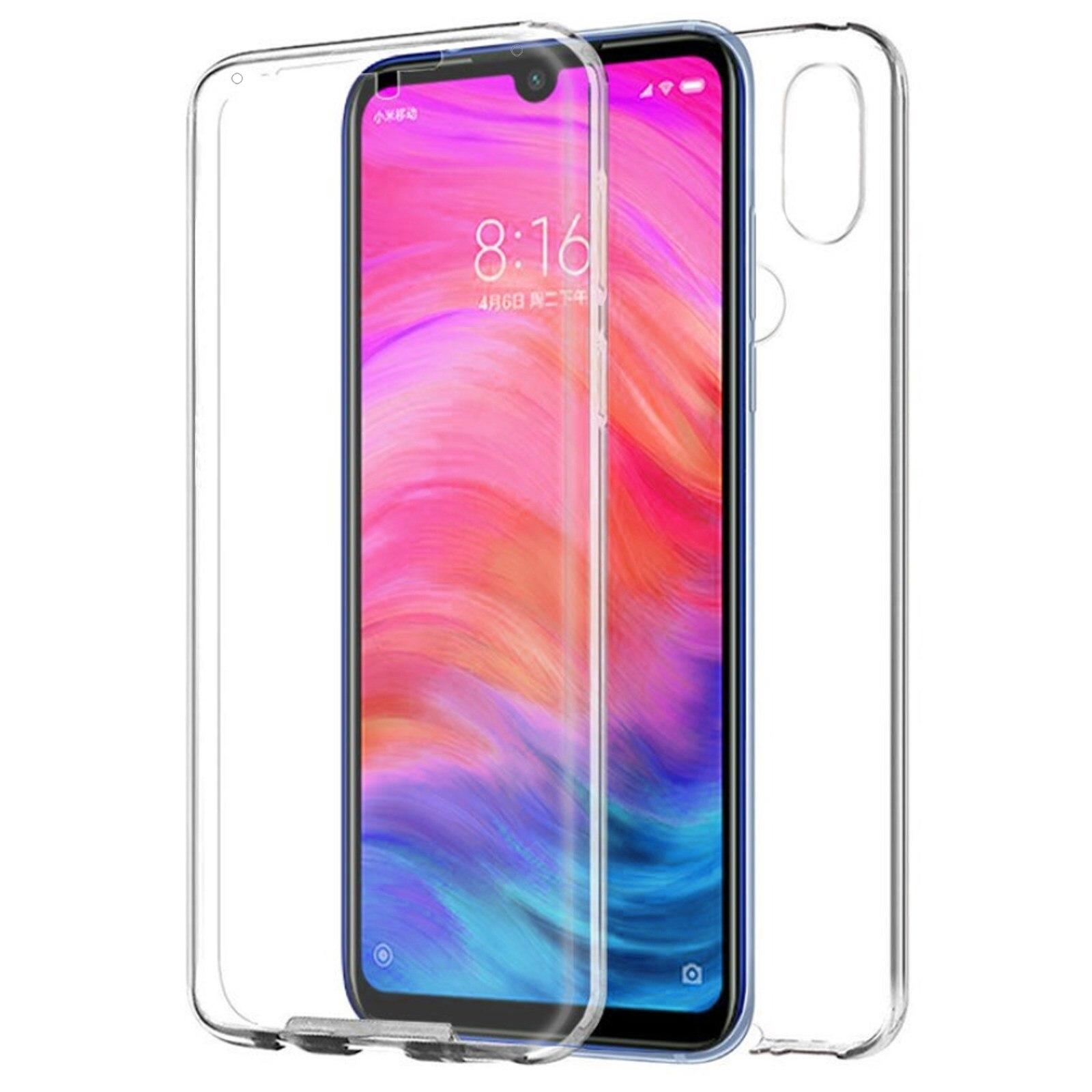 TBOC Case voor Xiaomi Redmi Note 7 [6.3 ]-Module [Transparante] Full [Siliconen TPU] dubbele Gezicht [360 Graden] Mobiele