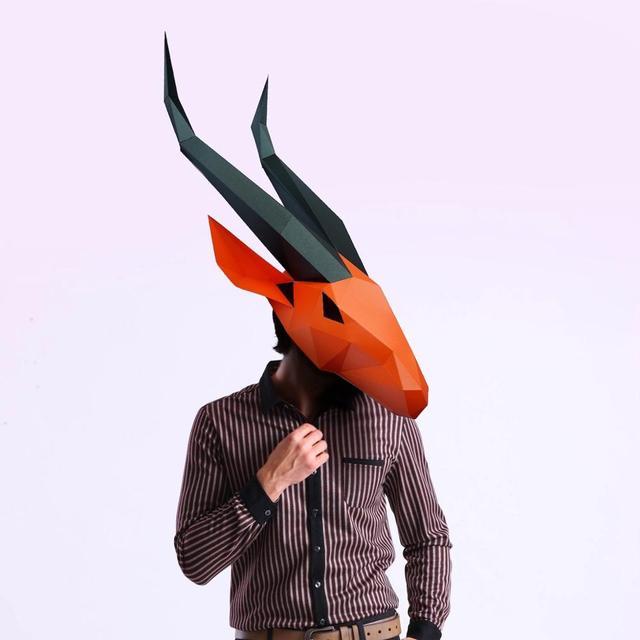 מסכת ראש אוריגמי - אנטילופה ארוך 1