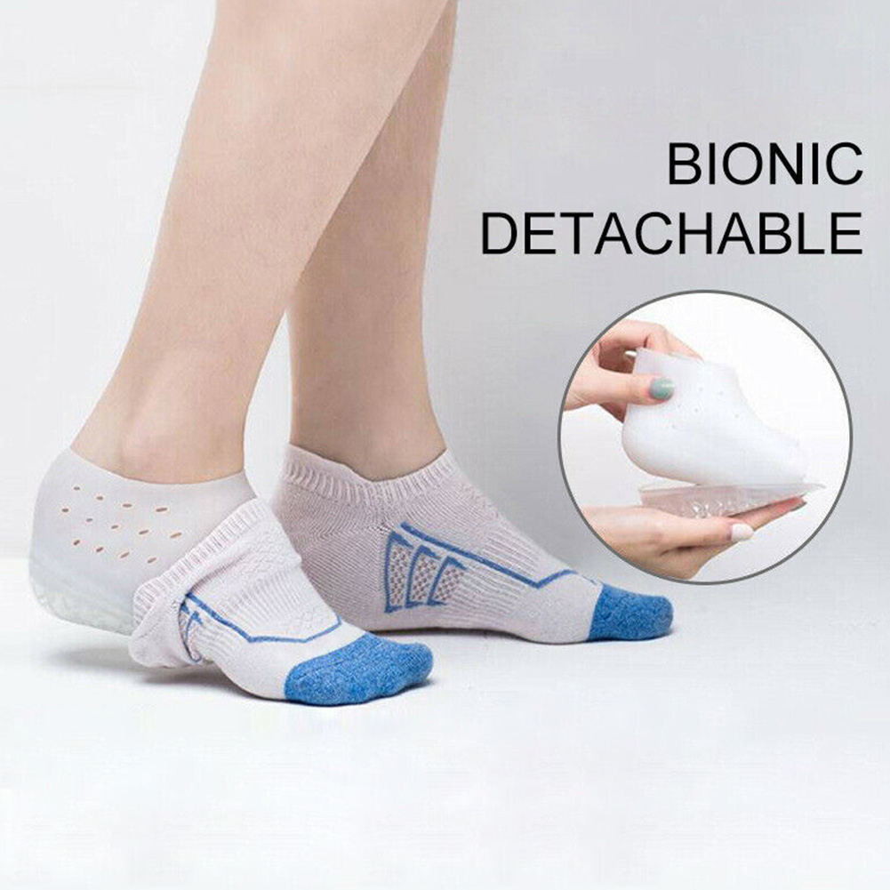 1 Pair Unisex Anti Slip Invisible Heel Insole Silicone Pads Soft Lining Heightening Solid Hard Wearing Increased Pain Relief