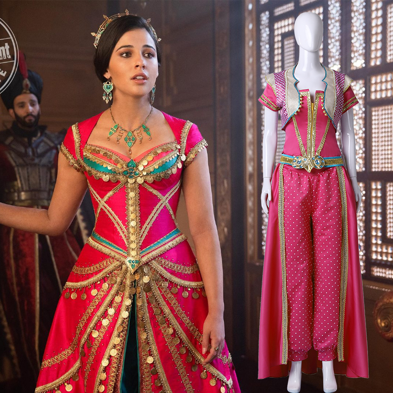 2019 Movie Aladdin Costume Jasmine Princess Embroidery Cosplay Costume Women Girls  Jasmine Dresses Halloween Party Costume
