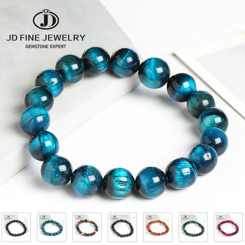 JD High Quality Blue Tiger Eye Buddha Bracelets Natural Stone Round Beads Elasticity Rope Men Women Bracelet