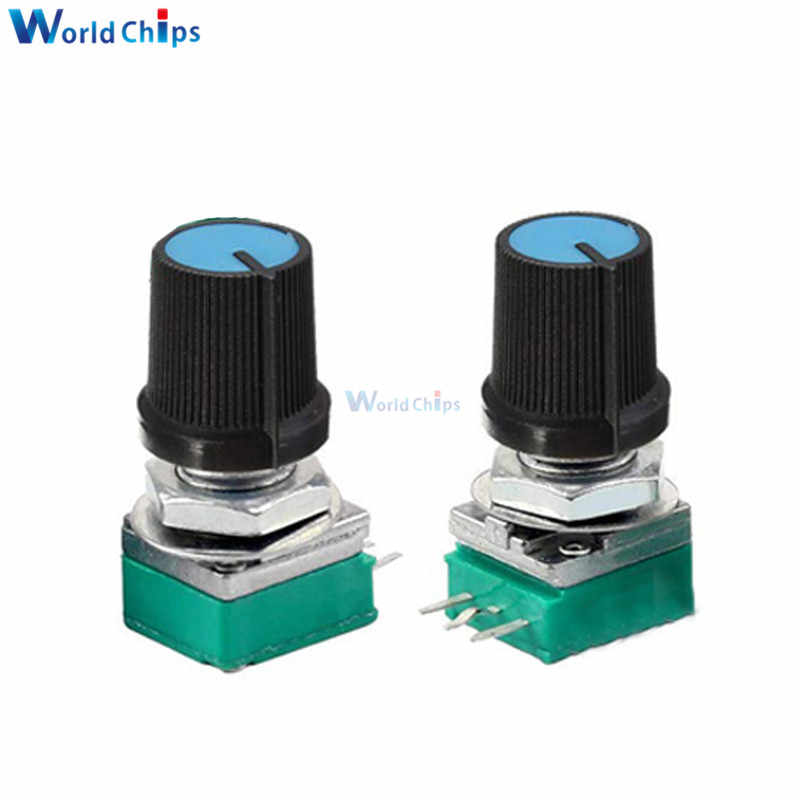1 pièces Potentiomètre Rotatif B10K 10KΩ Ohm 3 Broches 3 P 6mm Arbre Moleté Simple Linéaire B Type kit de bricolage 3PIN Avec Capuchon simple pour Arduino