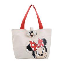Disney nowa duża torba damska torba 2019 śliczna kreskówka myszka miki pojemna torba dziewczyna ramię płócienna torba torebki torebka zakupy tanie tanio canves cartoon 12-15 lat Dorośli 43x30x14cm Unisex Miękkie i pluszowe iedieij Pluszowe plecaki