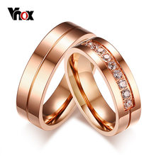 Vnox Trendy Wedding Bands Rings for Women / Men Love Rose Gold-color Stainless Steel CZ Promise Jewelry alliance anel(China)