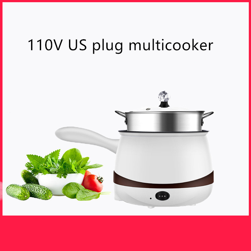 US 110V Electric Cooker Portable Multicooker America Taiwan Electric Heat Pan Mini Hot Pot Home Water Kettle with Handle