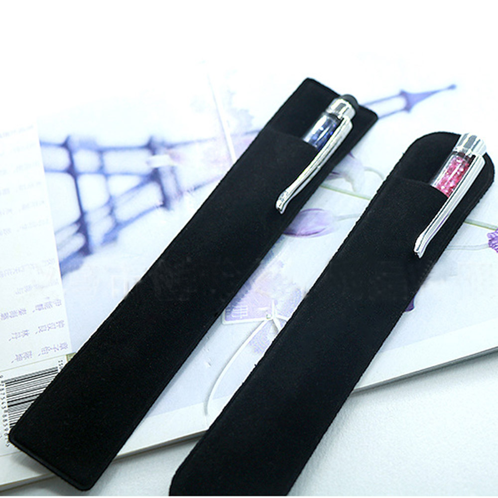 3PCS/Pack Black Flocking Cloth Pencil Bag Fountain Pen Case Holder For Travel Journal Student School Office Supplies