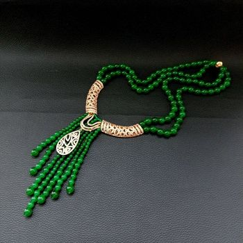 20''Zircon Pave Pendant 2 Strands Green Jade Statement Necklace