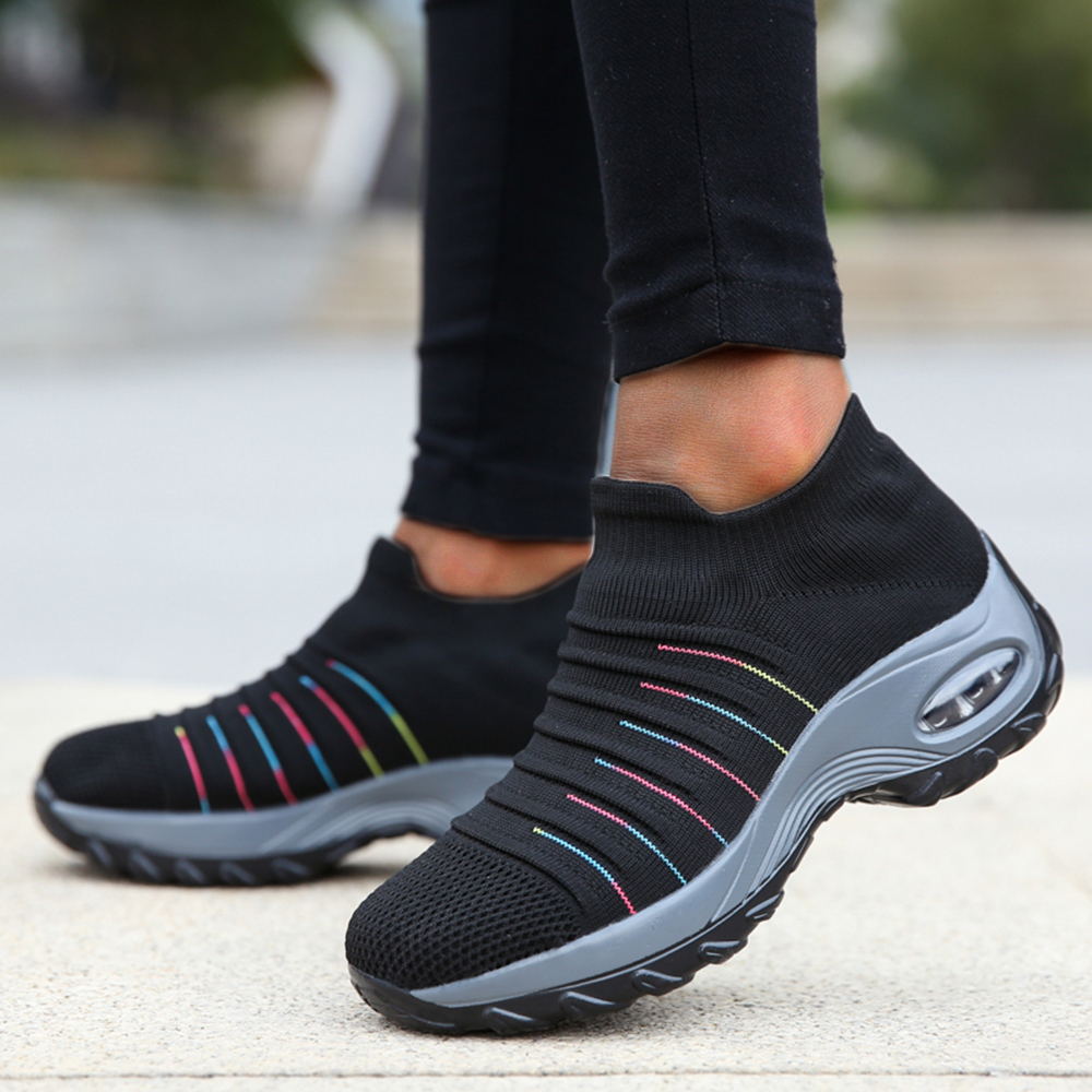 Breathable Mesh Trainers Womens Casual Air Cushion Mesh Sneakers Spring Striped Sport Shoes Women Slip On Soft Running Shoes D30