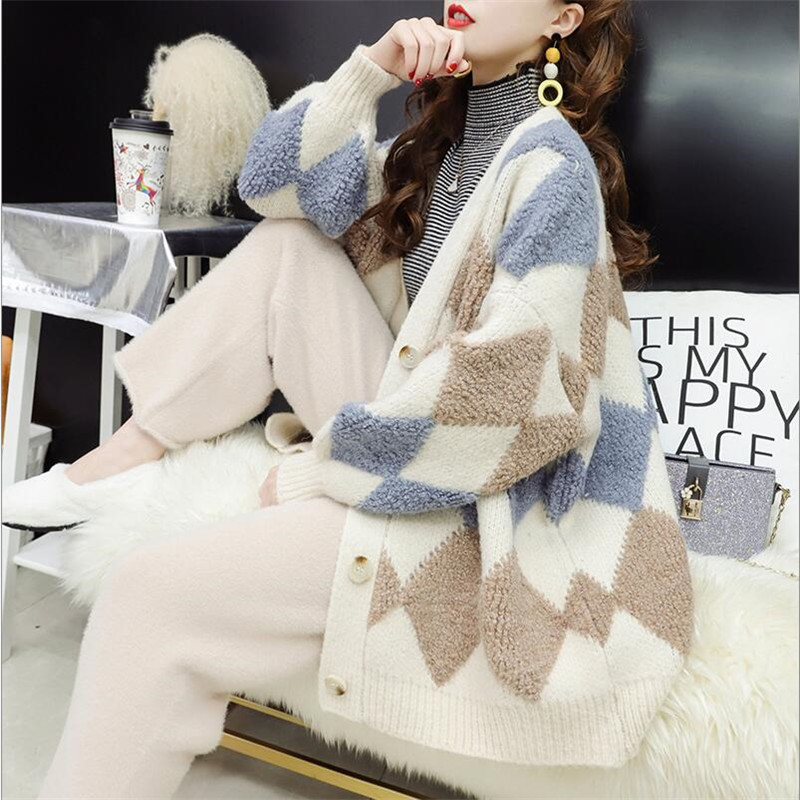 Long Sweater Cardigan Women Loose Long-sleeved Plaid Pattern Solid Color 2019 Autumn New Lantern Sleeves Wild Knit Jacket