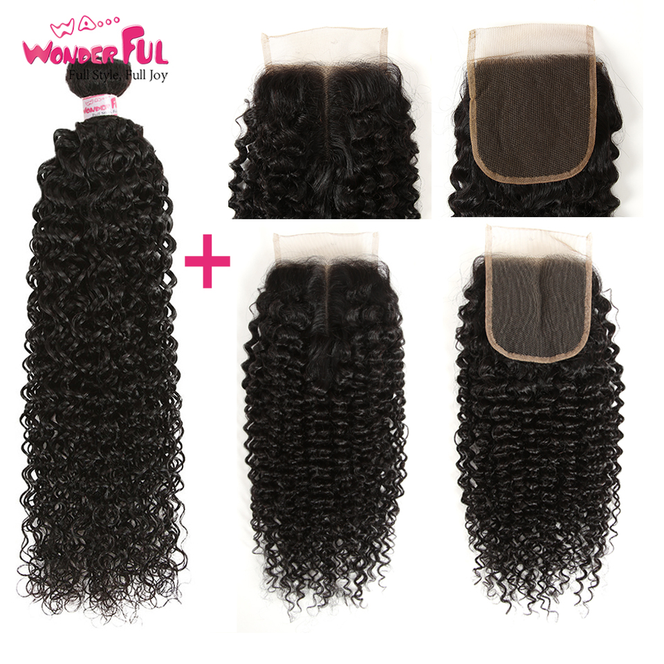 Remy Kinky Curly Weave Human Hair Bundles With Closure Peruvian Hair 3 Bundles Kinky Curly Hair With Closure 8 To 28  Inch