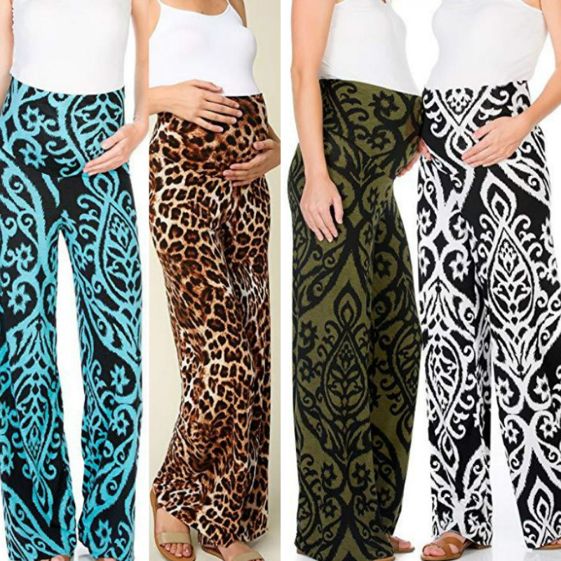 2019 summer new sexy printed leopard print pregnant women wide leg pants trousers for pregnant women maternity clothes