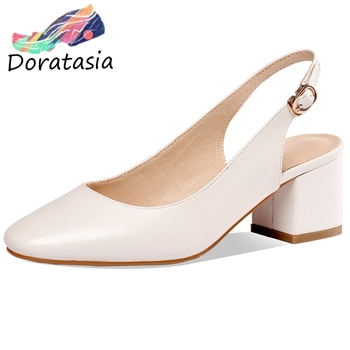 DORATASIA sweet girls summer sandals roung toe genuine leather party dress casual sandals women high heel solid shoes woman