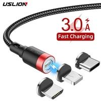 USLION 3A Cable magnético rápido de carga para iPhone Xs Max XR 8 7 6 6S Plus Cable Micro USB tipo C Cable para Samsung Xiaomi Huawei