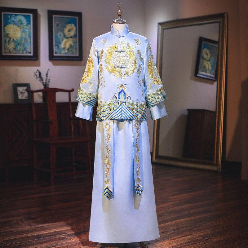 Mao Suit Smoking Masculino Tang Suit, Xiuhe Toast Ancient Wedding Dress, Dragon Phoenix Jacket, Men's Studio Photography Dress