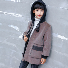 Коллекция года, зимние куртки для мальчиков, однотонный шерстяной двубортный плащ для маленьких мальчиков верхняя одежда с отворотами для детей возрастом от 4 до 12 лет, пальто для мальчиков, ветровка
