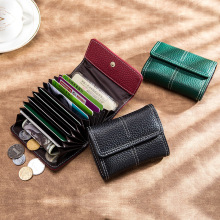 New Fashion Genuine Leather Credit Card Holder Business Cards Organizer Case Quality Women Short Coin Purse ID Card Bag Wallet zoress genuine leather women fashion card holder 22 card slots large capacity girls id credit card case bag purse wallet 8 color