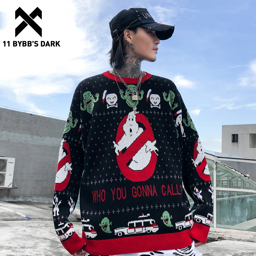 11 BYBB'S DARK Hip Hop Cartoon Knitwear Mens Sweater 2020 Autumn Winter Harajuku Streetwear Ripped Male Casual Pullover Outwear