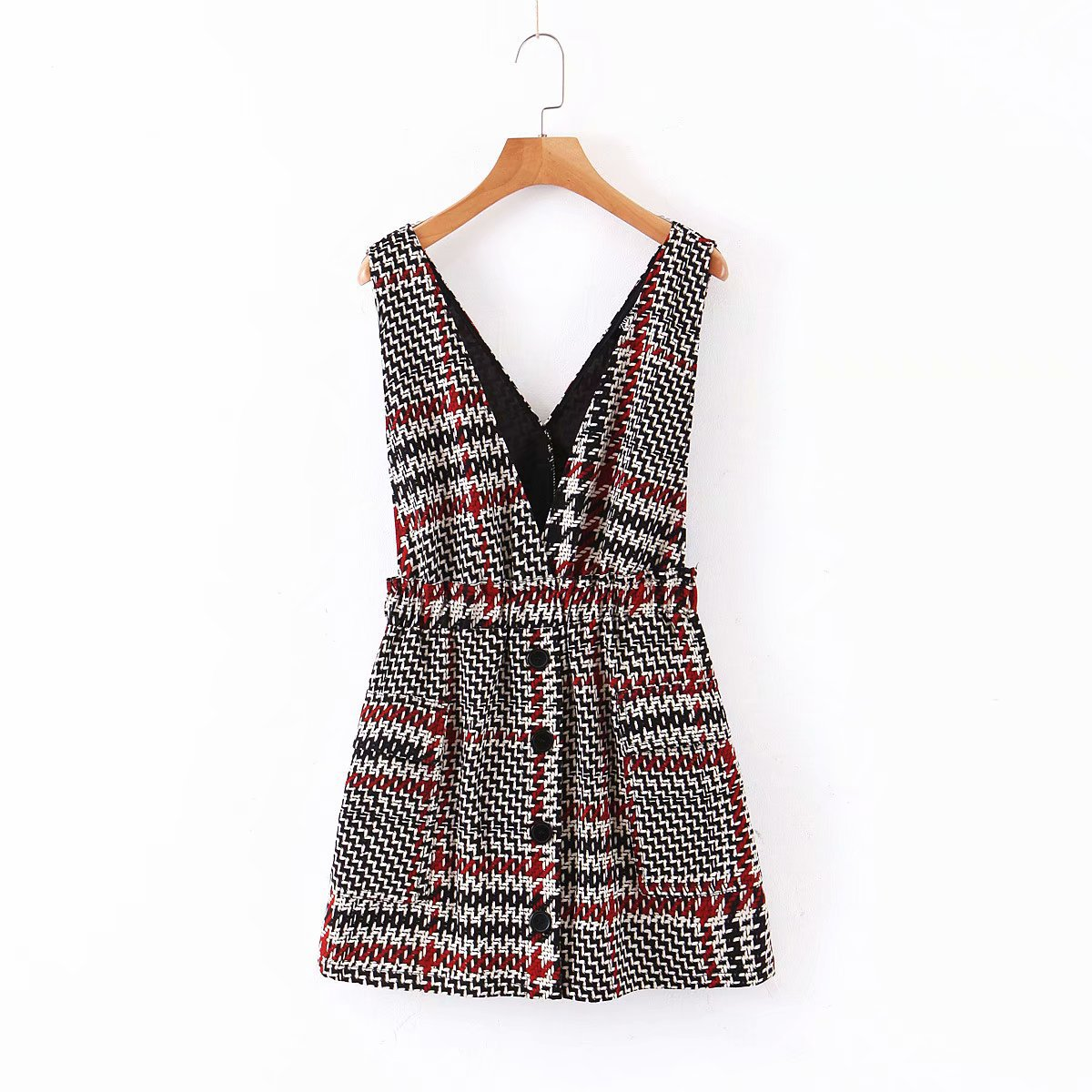 Women Elegant Tweed Suspender Skirt Pockets Button Decorate Overalls Elastic Waist Retro Casual Chic Mini Skirts