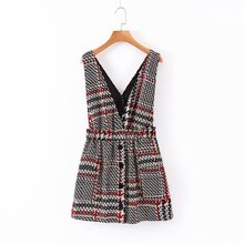 Women Elegant Tweed Suspender Skirt Pockets Button Decorate Overalls Elastic Wai