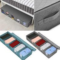 Plegable debajo de bolsas para cama, 1Pc Pack grande debajo de la cama cajas de almacenamiento gruesa transpirable debajo de la cama bolsas de almacenamiento de ropa organizador con cremallera