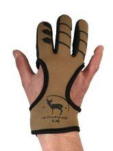 Guante de seguridad Protector de cuero de la mano, 3 dedos, negro, tiro con arco recurvo, arco compuesto para tiro, ballesta