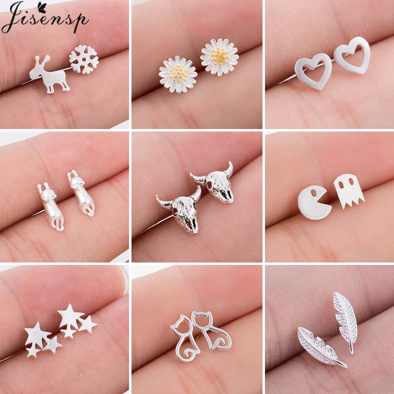 Real 925 Sterling Silver Stud Earrings for Women Girls Minimalist Star Leaf Heart Flower Earings brincos sterling-silver-jewelry