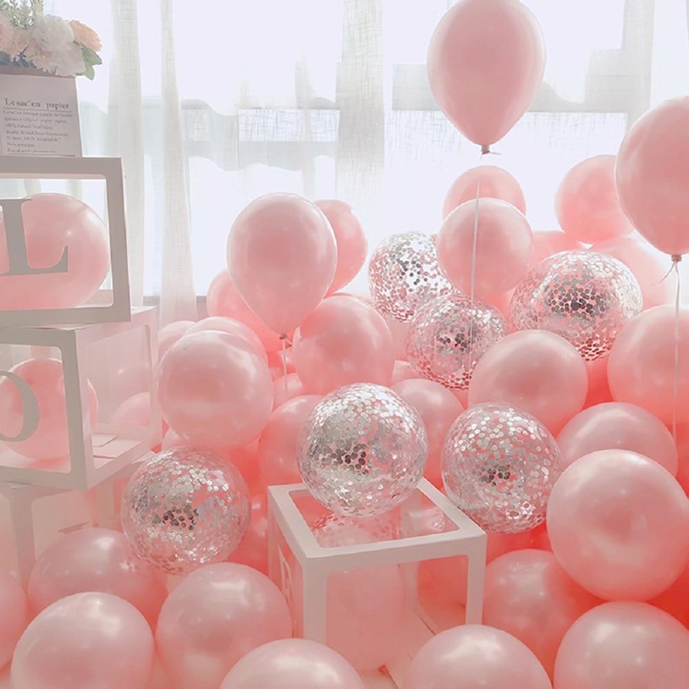 18 шт 10 дюймов цвета: золотистый, серебристый розовый хром воздушных шаров из латекса, конфетти для свадьбы и дня рождения с утолщённой мехов...