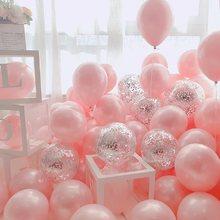 Confeti de látex cromado para decoración de fiestas, confeti con Globos, oro, plata, rosa, 10 pulgadas, 18 Uds.