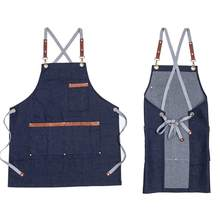 New Adjustable Denim Baking Kitchen Aprons for Woman Man Chef Cooking Uniform Restaurant Coffee Shop Work Bib M-L Size(China)