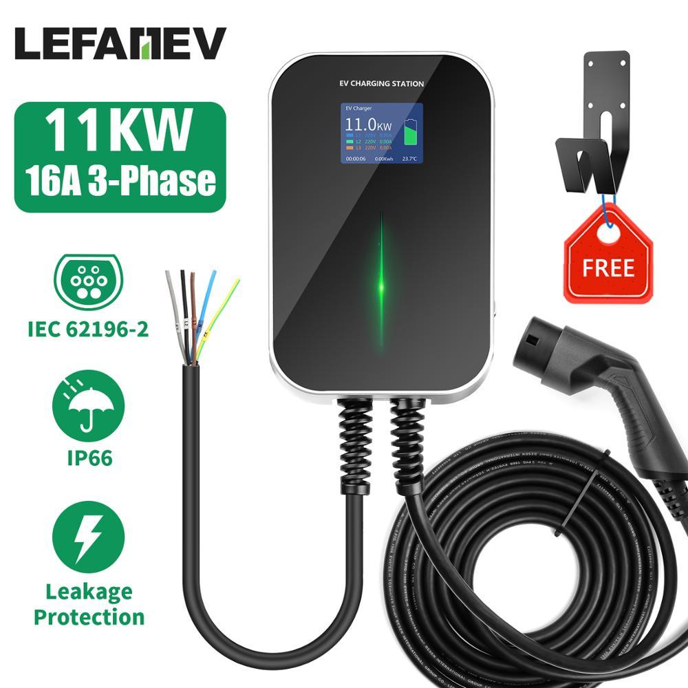 EV chargeur 16A 3 phases Station de recharge de véhicule électrique EVSE Wallbox avec câble de Type 2 IEC 62196-2 pour Audi pour mercedes-benz