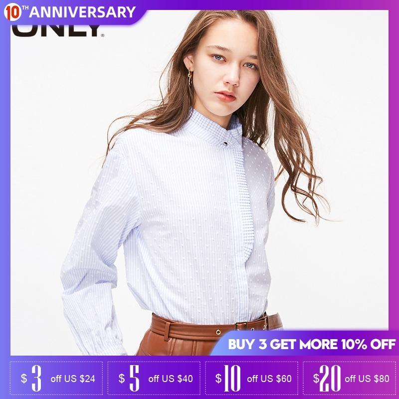 ONLY Women Half Turtleneck Cotton Loose Shirt |119105504