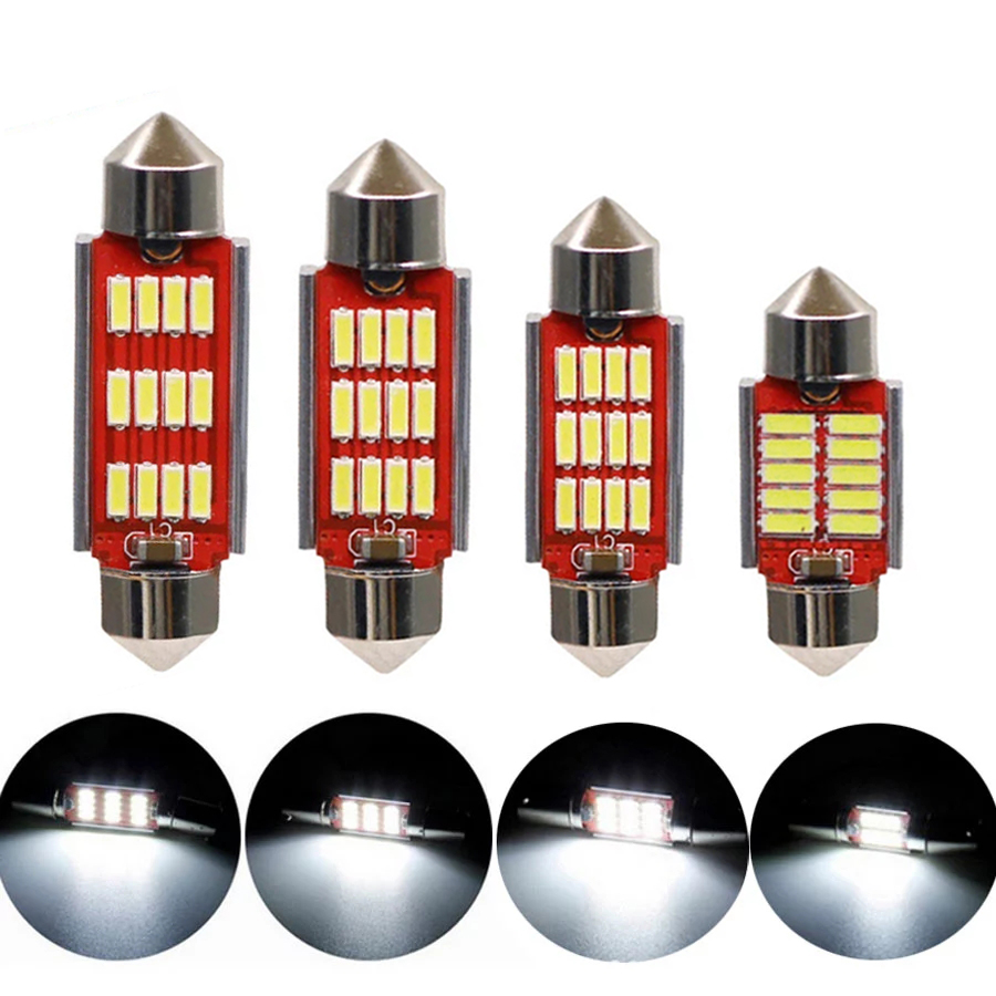 NHAUTP 10 шт. 12-24V C5W Светодиодный лампочки Canbus 4014 гирлянда 31 мм 36 мм/39 мм/41 мм номерного знака автомобиля лампа Интерьер Лампы для чтения, белый цв...