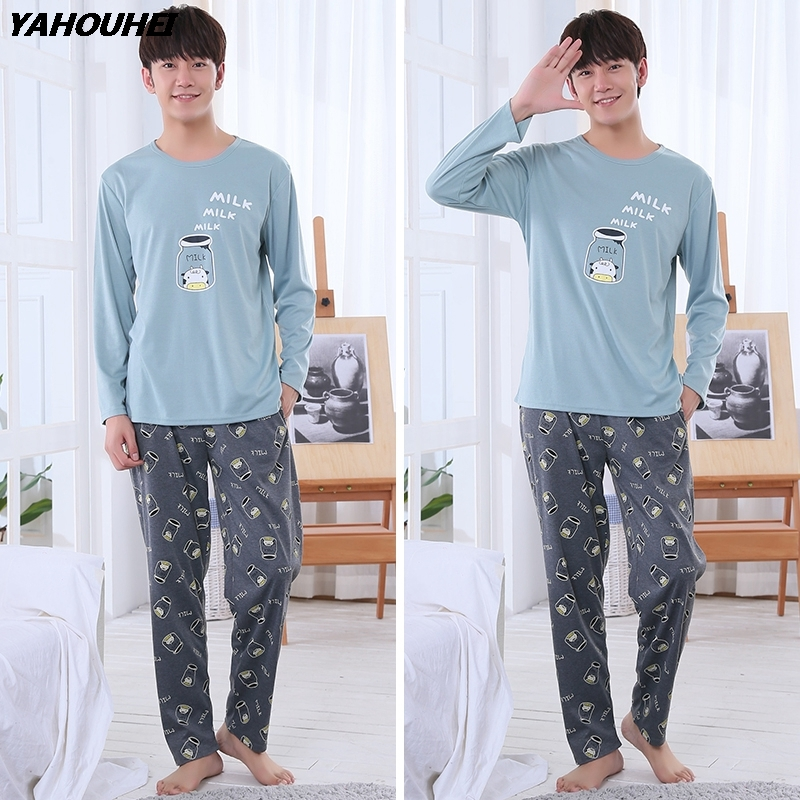 2019 Autumn Winter Cotton Pajamas Sets For Men Long Sleeve Cartoon Pyjama Casual Sleepwear Male Homewear Loungewear Home Clothes