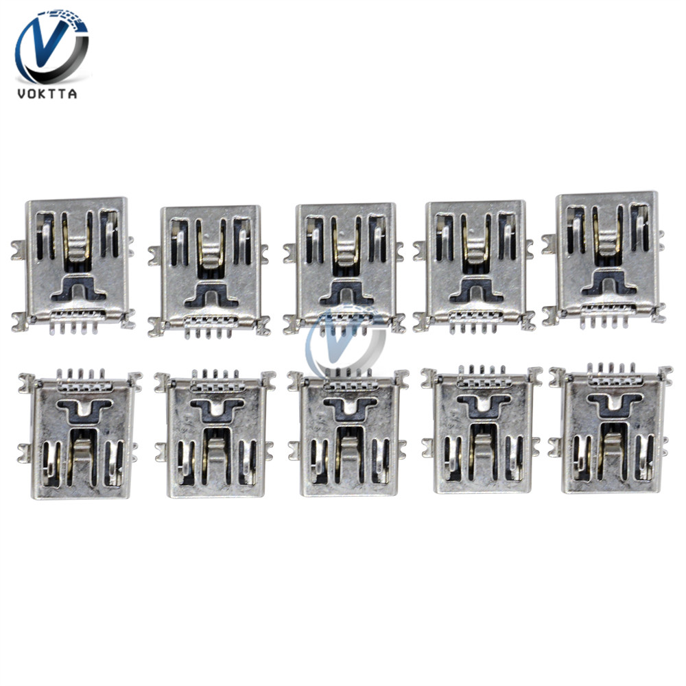 <font><b>10</b></font> Pcs/lot Micro <font><b>USB</b></font> SMD 5 <font><b>Pin</b></font> Female <font><b>Mini</b></font> B Socket <font><b>Connector</b></font> Plug Type B Socket <font><b>Connector</b></font> Short Body <font><b>USB</b></font> image