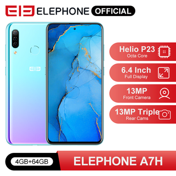 """ELEPHONE A7H Helio P23 4GB RAM 64GB ROM Smartphone 6.4"""" Octa Core Android 9.0 3900mAh Fast Charging Fingerprint Recognition 1"""