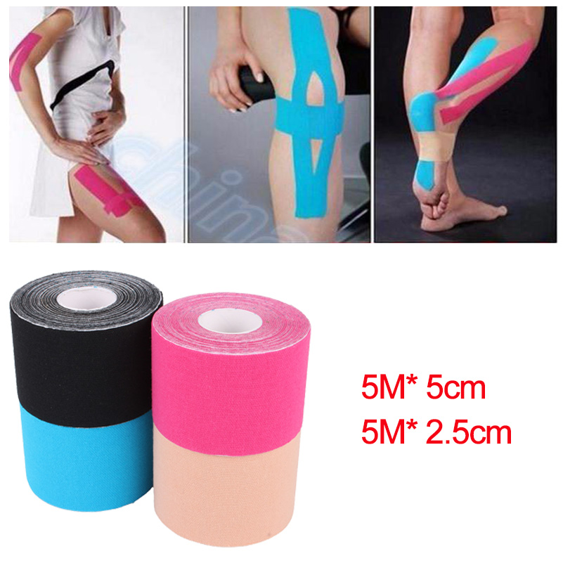 2Size Elastic Cotton Roll Adhesive Tape 5cm*5m Sports Muscle Tape Bandage Care Kinesiology First Aid Tape Muscle Injury Support