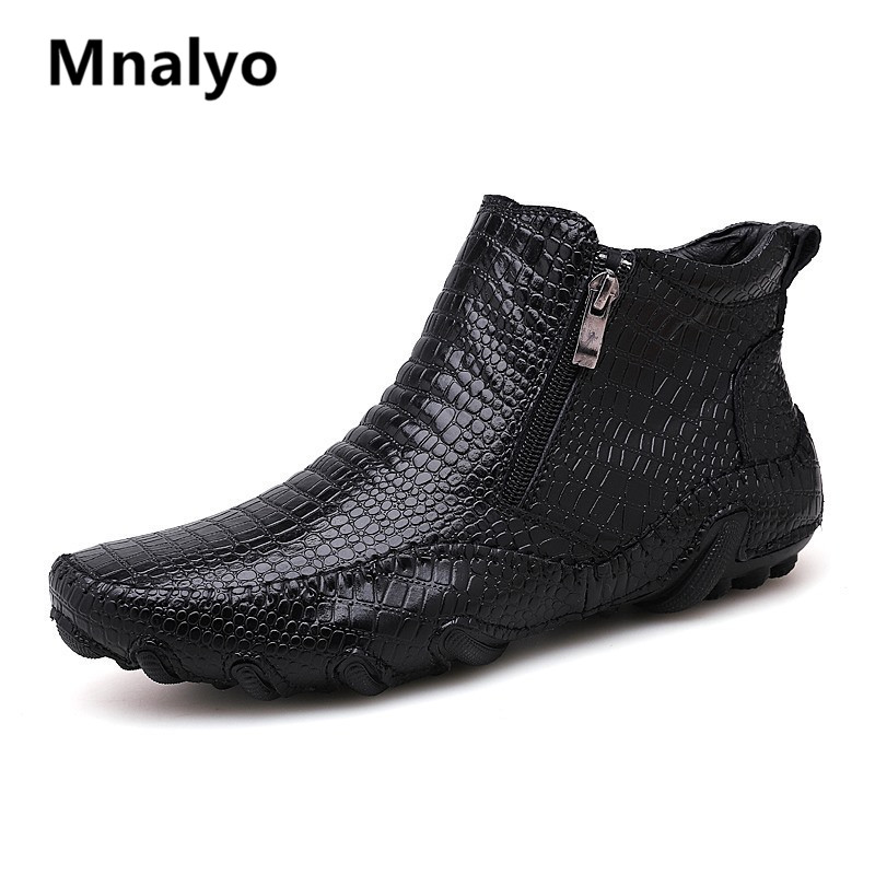 Mnalyo High Quality Genuine Leather Men Boots Winter Waterproof Ankle Boots Riding Boots Outdoor Working Snow Boots Men Shoes image