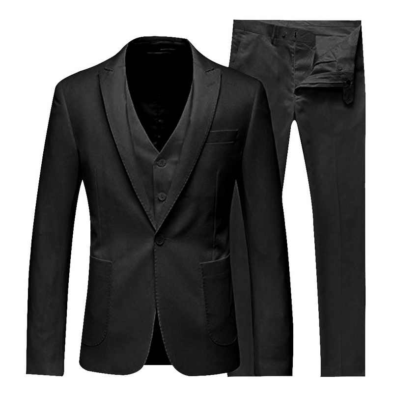 SHUJIN Men Thin Business Blazers Sets Groomsman Suit + Vest + Pants 3 Pieces Slim Sets Solid Color Wedding Party Suit Sets