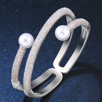 zlxgirl bridal jewelry Cubic Zirconia pearl bangle & Bracelet Women CZ Copper Gold Knot Bracelet Bangle free Velvet bag