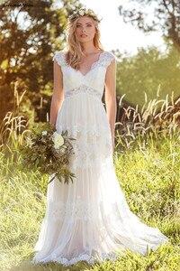 Image 2 - Vestidos De novia Bohemia Apliques De encaje corte en A, mangas abiertas en la espalda, campo, novia, Vestido De novia, 2020