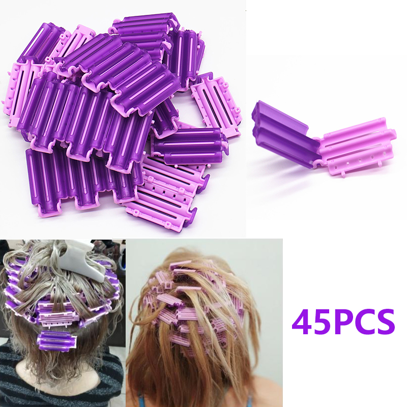 45pcs Hair Rollers Root Fluffy Clamps Wave Perm Rod DIY Bars Corn Clips Corrugation Hair Curler Curling Curlers Styler For Women