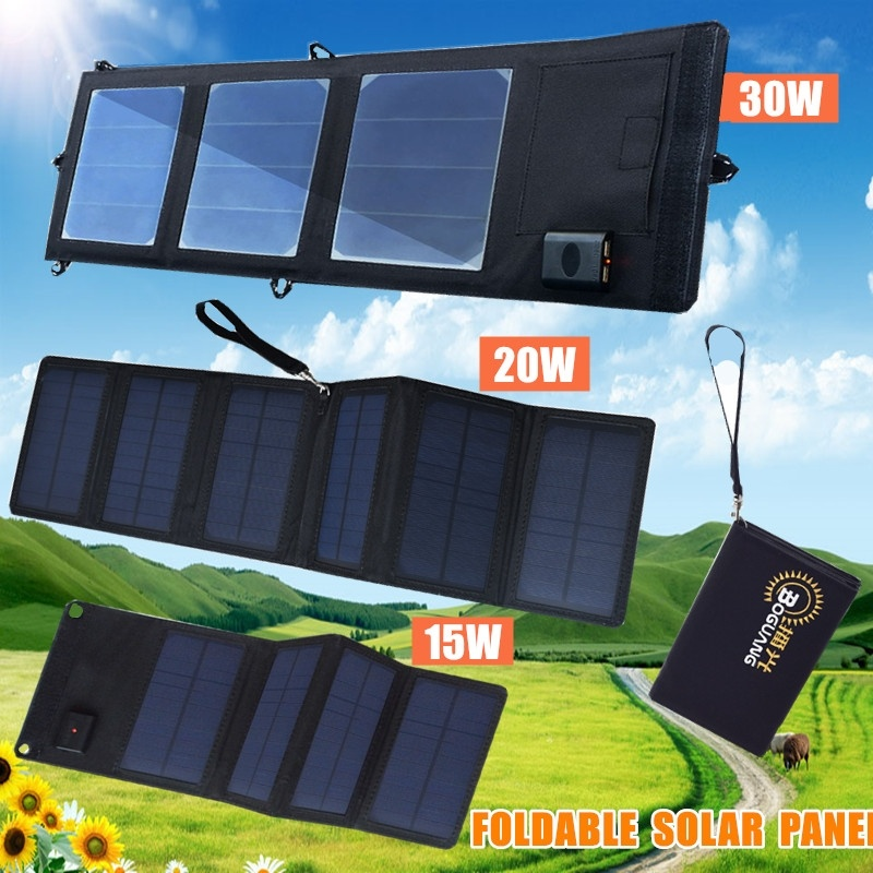 20W 15W 5V USB Port Waterproof Portable Foldable Solar Panel Charger Power Bank for Outdoor Phone Car Climbing Hiking Camping image