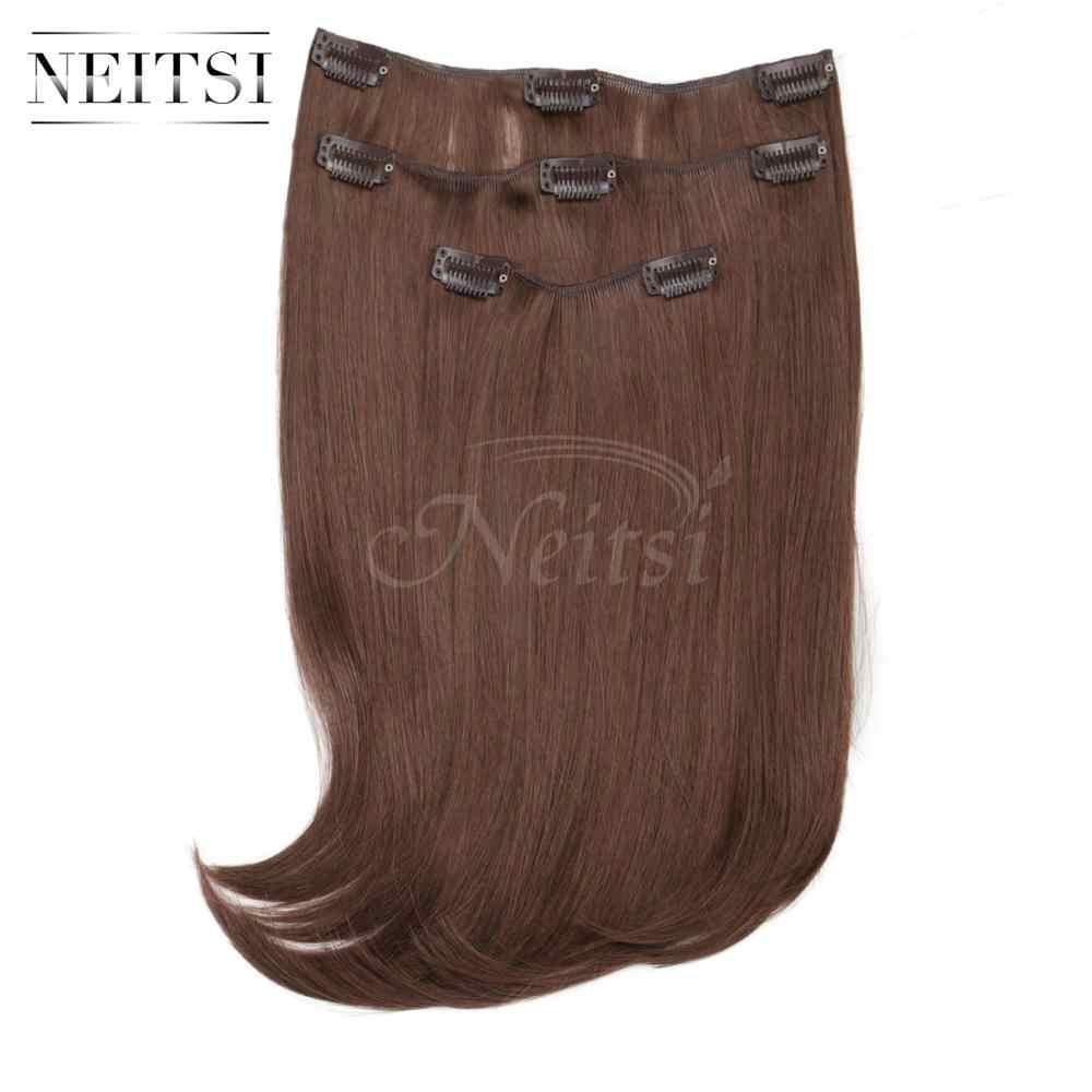 Neitsi 14 ''3 sztuk/zestaw 75G 8 klipy prosto syntetyczne włosy doczepiane clip in odporne na ciepło fałszywe Hairpiece czerwony brązowy kolor
