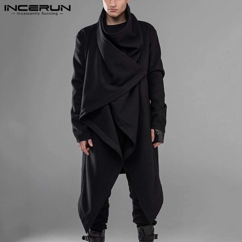 INCERUN 2020 Men Cloak Coats Punk Style Long Sleeve Turtleneck Streetwear Solid Fashion Men Jackets Cape Irregular Hem Outerwear